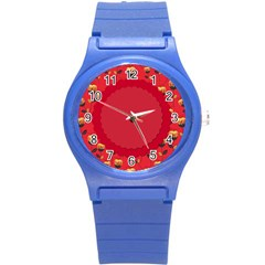 Floral Roses Pattern Background Seamless Round Plastic Sport Watch (s) by Simbadda