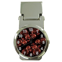 Fractal Chocolate Balls On Black Background Money Clip Watches by Simbadda