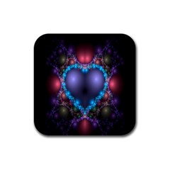Blue Heart Fractal Image With Help From A Script Rubber Square Coaster (4 Pack)  by Simbadda