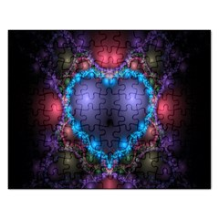 Blue Heart Fractal Image With Help From A Script Rectangular Jigsaw Puzzl by Simbadda