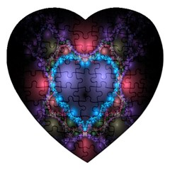 Blue Heart Fractal Image With Help From A Script Jigsaw Puzzle (heart) by Simbadda