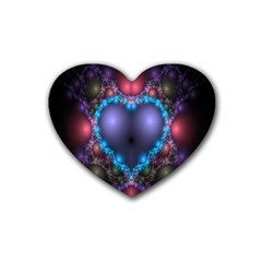 Blue Heart Fractal Image With Help From A Script Heart Coaster (4 Pack)  by Simbadda