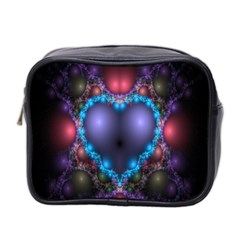 Blue Heart Fractal Image With Help From A Script Mini Toiletries Bag 2 Side by Simbadda