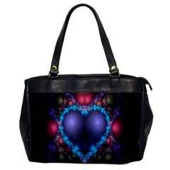 Blue Heart Fractal Image With Help From A Script Office Handbags by Simbadda
