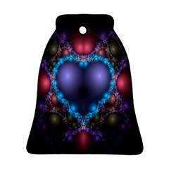 Blue Heart Fractal Image With Help From A Script Bell Ornament (two Sides) by Simbadda