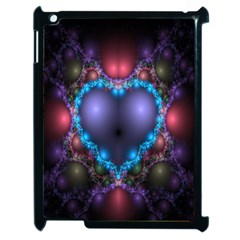 Blue Heart Fractal Image With Help From A Script Apple Ipad 2 Case (black) by Simbadda