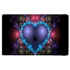 Blue Heart Fractal Image With Help From A Script Apple Ipad 3/4 Flip Case by Simbadda