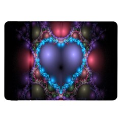 Blue Heart Fractal Image With Help From A Script Samsung Galaxy Tab 8 9  P7300 Flip Case by Simbadda