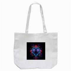 Blue Heart Fractal Image With Help From A Script Tote Bag (white) by Simbadda