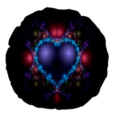 Blue Heart Fractal Image With Help From A Script Large 18  Premium Flano Round Cushions by Simbadda