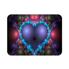 Blue Heart Fractal Image With Help From A Script Double Sided Flano Blanket (mini)  by Simbadda