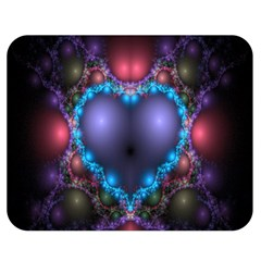 Blue Heart Fractal Image With Help From A Script Double Sided Flano Blanket (medium)  by Simbadda