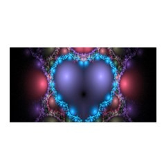 Blue Heart Fractal Image With Help From A Script Satin Wrap by Simbadda
