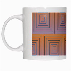 Brick Wall Squared Concentric Squares White Mugs