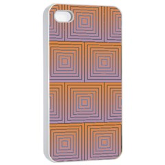 Brick Wall Squared Concentric Squares Apple Iphone 4/4s Seamless Case (white) by Simbadda