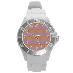 Brick Wall Squared Concentric Squares Round Plastic Sport Watch (l) by Simbadda