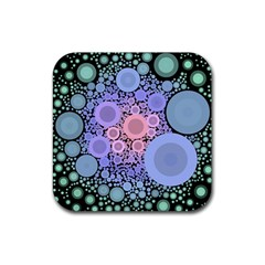 An Abstract Background Consisting Of Pastel Colored Circle Rubber Coaster (square)  by Simbadda