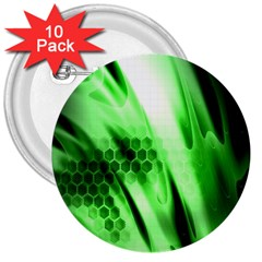 Abstract Background Green 3  Buttons (10 Pack)  by Simbadda