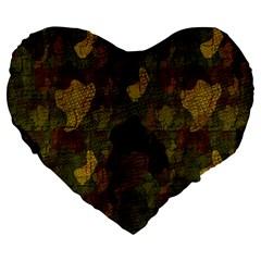Textured Camo Large 19  Premium Flano Heart Shape Cushions by Simbadda