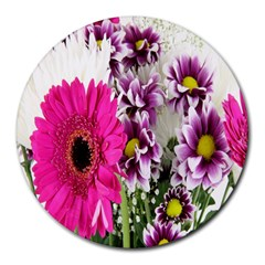 Purple White Flower Bouquet Round Mousepads by Simbadda