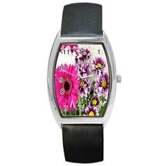 Purple White Flower Bouquet Barrel Style Metal Watch by Simbadda