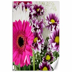 Purple White Flower Bouquet Canvas 24  X 36  by Simbadda