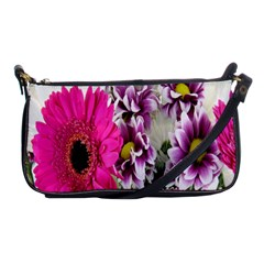 Purple White Flower Bouquet Shoulder Clutch Bags by Simbadda