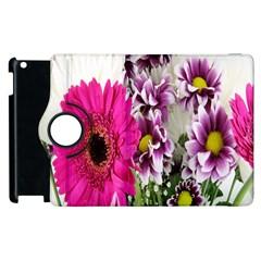 Purple White Flower Bouquet Apple Ipad 3/4 Flip 360 Case by Simbadda