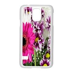 Purple White Flower Bouquet Samsung Galaxy S5 Case (white) by Simbadda