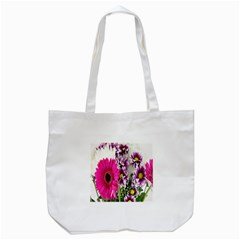 Purple White Flower Bouquet Tote Bag (white) by Simbadda