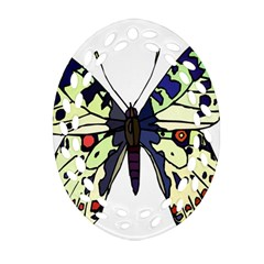 A Colorful Butterfly Image Oval Filigree Ornament (two Sides) by Simbadda