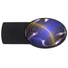 Fractal Magic Flames In 3d Glass Frame Usb Flash Drive Oval (4 Gb) by Simbadda