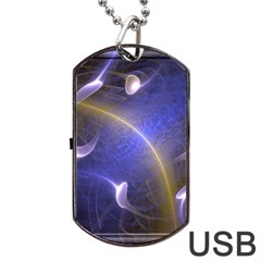 Fractal Magic Flames In 3d Glass Frame Dog Tag Usb Flash (two Sides) by Simbadda