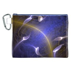 Fractal Magic Flames In 3d Glass Frame Canvas Cosmetic Bag (xxl)
