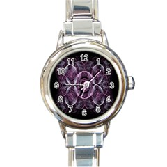 Fractal In Lovely Swirls Of Purple And Blue Round Italian Charm Watch by Simbadda