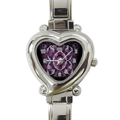 Fractal In Lovely Swirls Of Purple And Blue Heart Italian Charm Watch by Simbadda