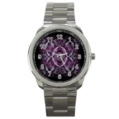 Fractal In Lovely Swirls Of Purple And Blue Sport Metal Watch by Simbadda