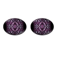 Fractal In Lovely Swirls Of Purple And Blue Cufflinks (oval) by Simbadda