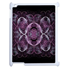 Fractal In Lovely Swirls Of Purple And Blue Apple Ipad 2 Case (white) by Simbadda