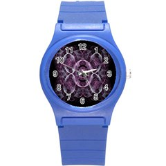 Fractal In Lovely Swirls Of Purple And Blue Round Plastic Sport Watch (s) by Simbadda