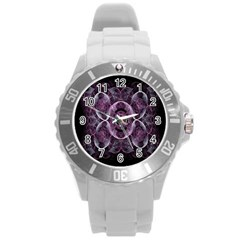 Fractal In Lovely Swirls Of Purple And Blue Round Plastic Sport Watch (l) by Simbadda