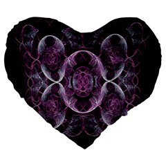 Fractal In Lovely Swirls Of Purple And Blue Large 19  Premium Heart Shape Cushions by Simbadda