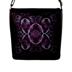 Fractal In Lovely Swirls Of Purple And Blue Flap Messenger Bag (l)  by Simbadda