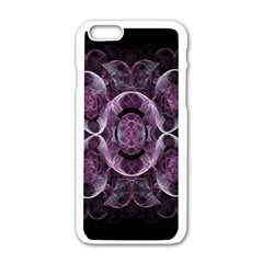 Fractal In Lovely Swirls Of Purple And Blue Apple Iphone 6/6s White Enamel Case by Simbadda