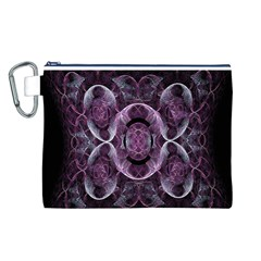 Fractal In Lovely Swirls Of Purple And Blue Canvas Cosmetic Bag (l) by Simbadda