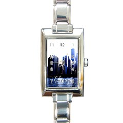 Abstract Of Downtown Chicago Effects Rectangle Italian Charm Watch by Simbadda