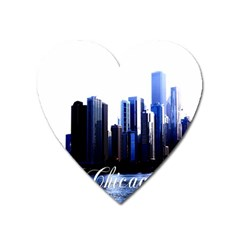 Abstract Of Downtown Chicago Effects Heart Magnet by Simbadda