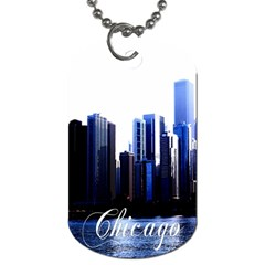 Abstract Of Downtown Chicago Effects Dog Tag (one Side) by Simbadda
