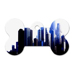 Abstract Of Downtown Chicago Effects Dog Tag Bone (one Side) by Simbadda