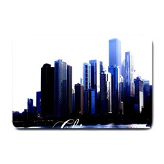Abstract Of Downtown Chicago Effects Small Doormat  by Simbadda